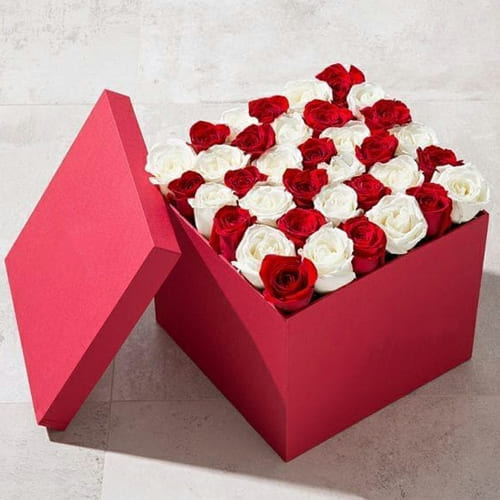 Captivating Red Box of Red n White Roses