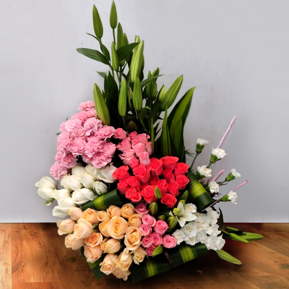 Artistic Arrangement of Mix-Color Flowers