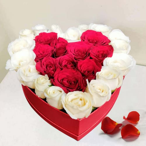 Luxurious Arrangement of Red and White Roses in Heart Box