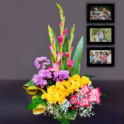 Expressive Display of Assorted Flowers with Chocolates