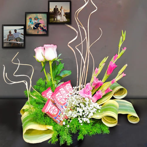 Graceful Arrangement of Assorted Flowers with Chocolates