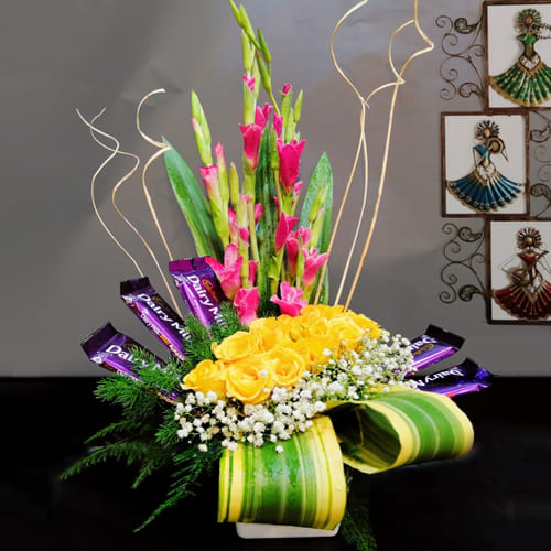 Dazzling Arrangement of Assorted Flowers with Cadbury Chocolate