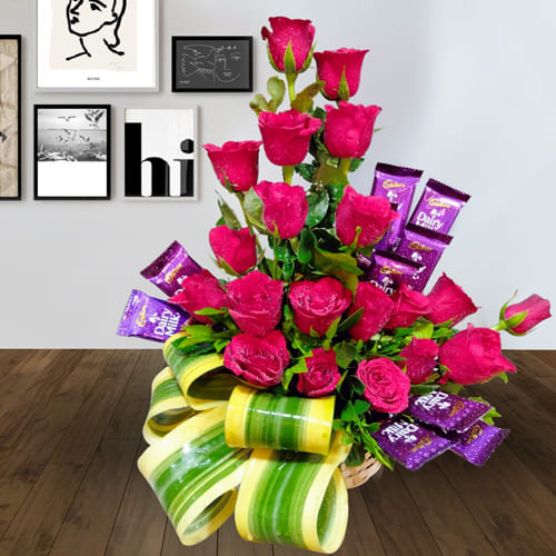 Exclusive Flowers N Chocolate Arrangement for 21st Bday