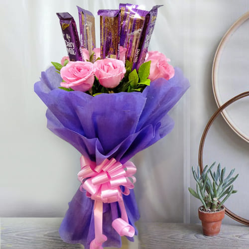 Luminous Pink Roses N Cadbury Dairy Milk Bouquet