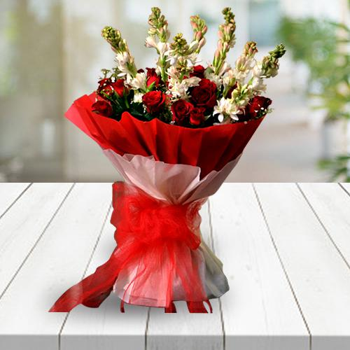 Pristine Red Roses n White Rajnigandha Bouquet for Congratulations