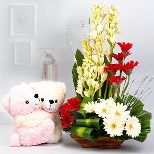 Striking Arrangement of Mixed Flowers with a Cute Teddy