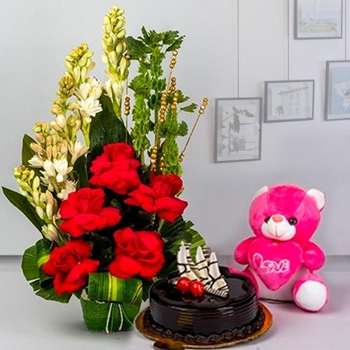 Treasured Combo of Fresh Flowers, Chocolate Cake n Cadbury Celebration Pack with Small Teddy