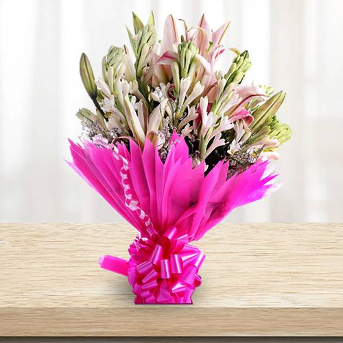 Exclusive Bouquet of Lilies and Gladiolus