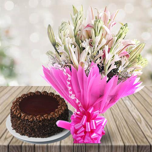 Marvelous Lilies N Gladiolus Bouquet with Chocolate Cake
