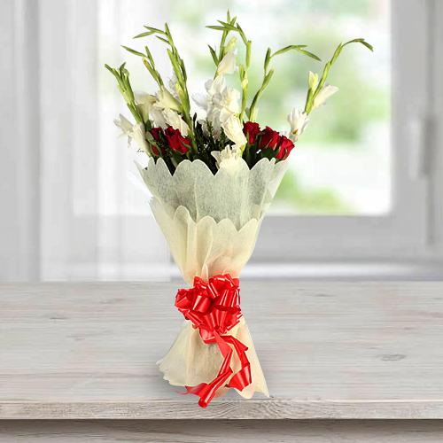 Amazing Bouquet of Gladiolus N Roses in Tissue Wrap