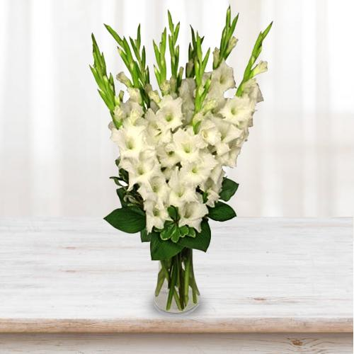 Breathtaking Display of White Gladiolus in a Glass Vase