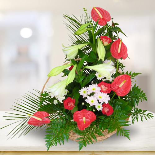 Remarkable Arrangement of Red N White Flowers