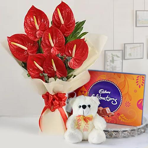 Remarkable Combo of Anthurium Bunch, Chocolates n Teddy