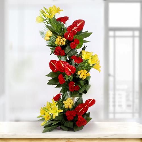 Breathtaking Tall Arrangement of Fresh Flowers