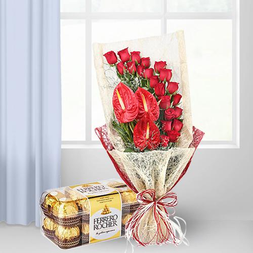 Exclusive Red Roses n Anthodium Bunch with Ferrero Rocher