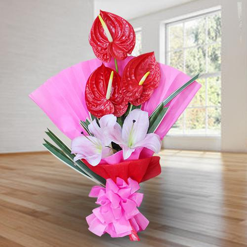 Marvelous Red Anthurium n Pink Lilies Bouquet