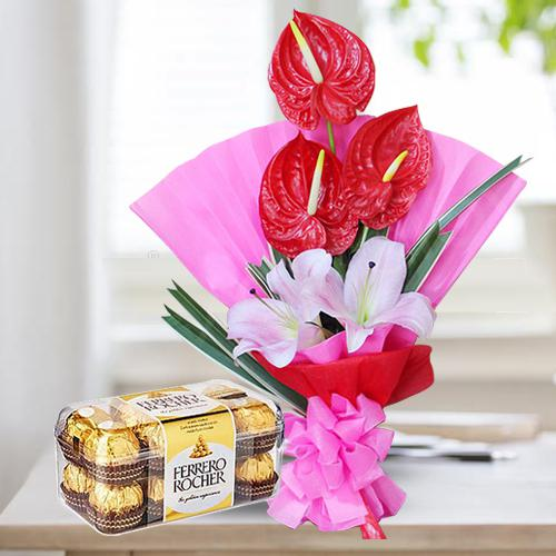 Beautiful Bunch of Red Anthodium n Pink Lilies with Ferrero Rocher