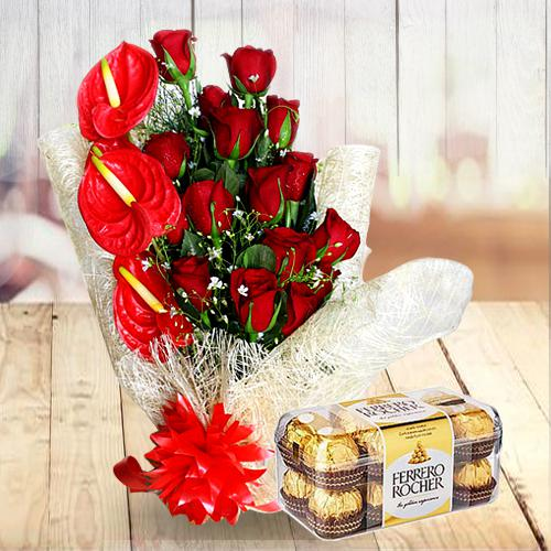 Attractive Gift of Red Flowers Bunch with Ferrero Rocher