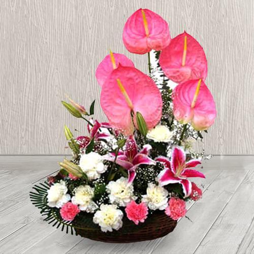 Delicate Arrangement of Pink N White Flowers