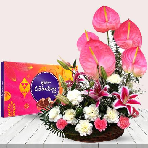 Mesmerizing Arrangement of Pink N White Flowers with Chocolates