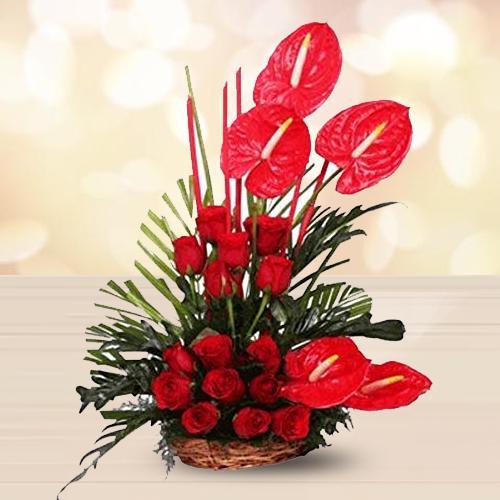 Attractive Red Flowers Arrangement