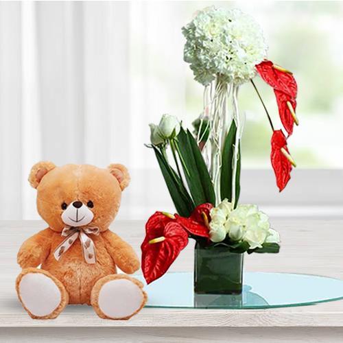 Amazing Fresh Flowers Arrangement in Glass Vase with Teddy