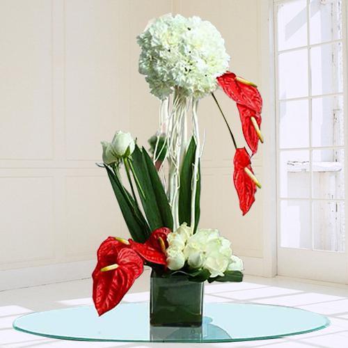 Graceful Mixed Flower Arrangement in Glass Vase