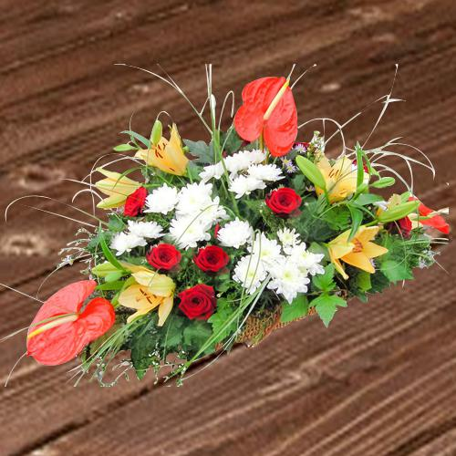 Exclusive Flat Table Arrangement of Assorted Flowers