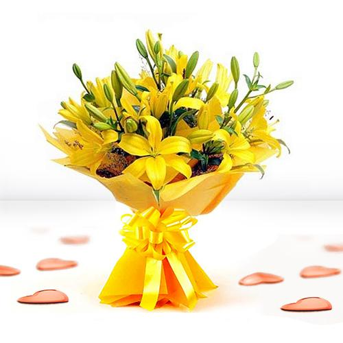 Bright Bouquet of Yellow Lilies