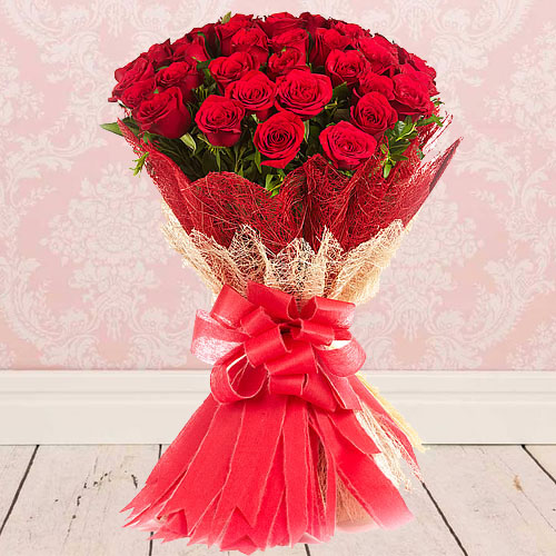 Remarkable Bouquet of Red Roses