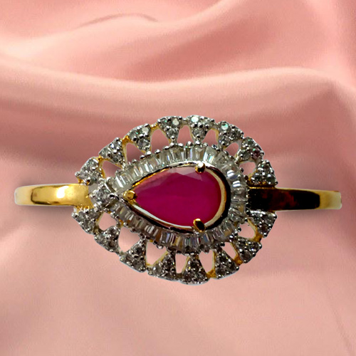 Beautiful Red Stone and Rhinestone Studded Fancy Bangle from Anjali