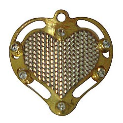Marvelous Gold Tone Metal Heart Shaped Pendant with Mesh