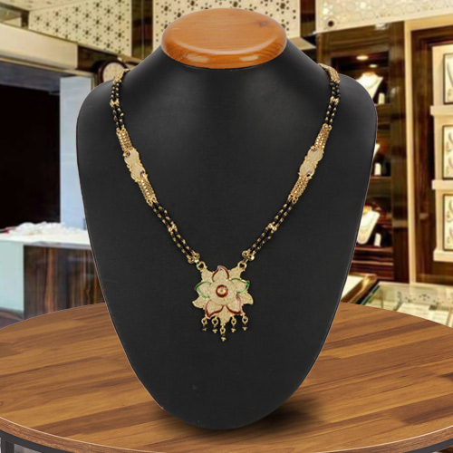 Wonderful Gold Toned Metal Mangalsutra with Floral Design