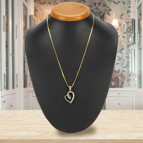 Lovely Gold Plated Heart Shaped Pendant with Chain