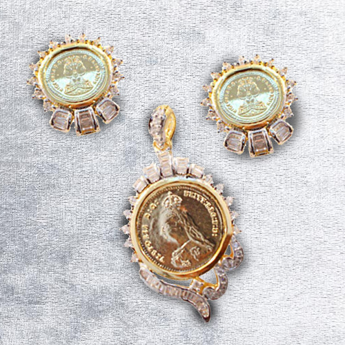 Exclusive Gold Coin Design Pendant N Earring Set