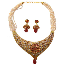 Stunning Kundan Pattern Necklace Set