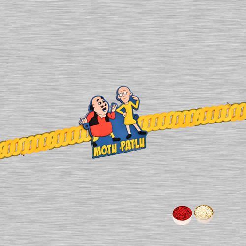 One Motu Patlu Rakhi with Roli Tilak and Chawal