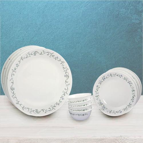 Dazzling Corelle White n Green Country Cottage Dinner Set