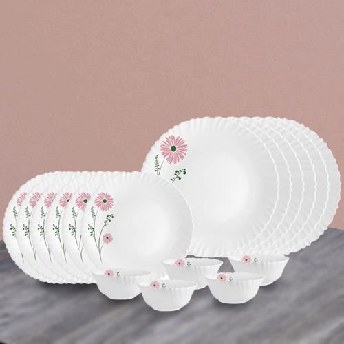 Remarkable Cello Opalware Pink Lilac n White Dinner Set