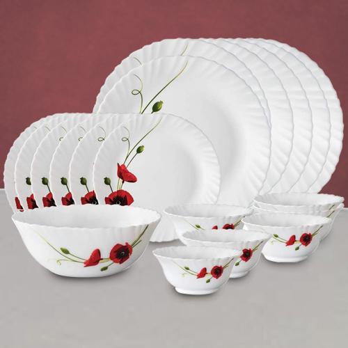Impressive Larah by Borosil Red Carnations Dinner Set