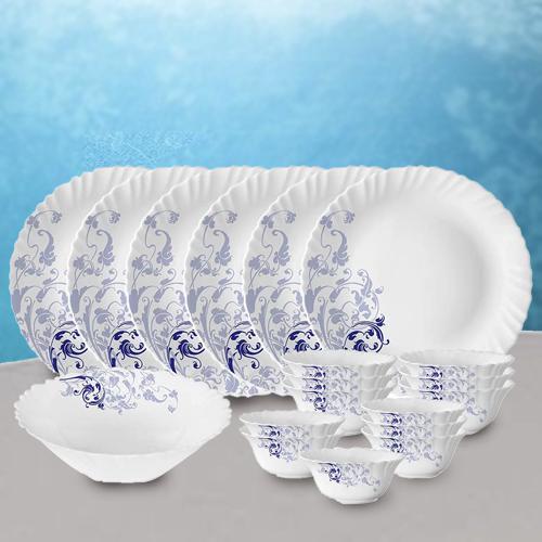Brilliant Larah by Borosil Blue Eve Silk Series Dinner Set