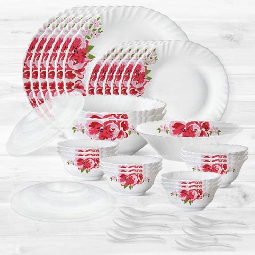 Fabulous Larah by Borosil Rose Red Silk Series Dinner Set