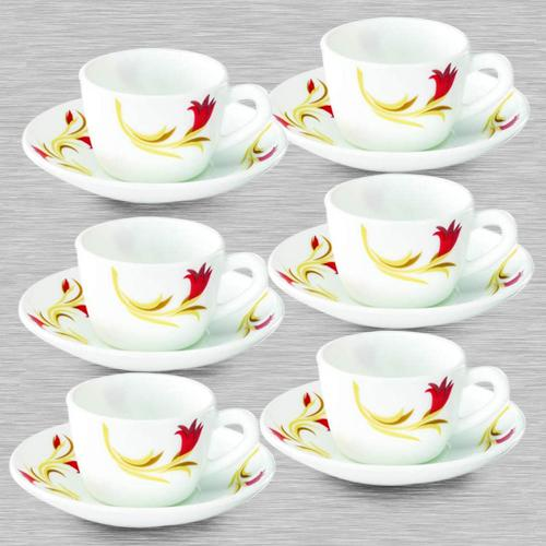 Lovely Larah By Borosil Red Lily Cup and Saucer Set