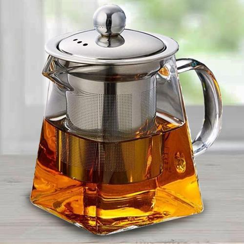 Fancy Octavius Pyramid Shape Borosilicate Glass Teapot