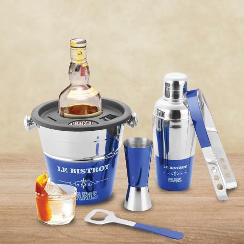 Elegant Blue Lacquered Bartender Tool Set