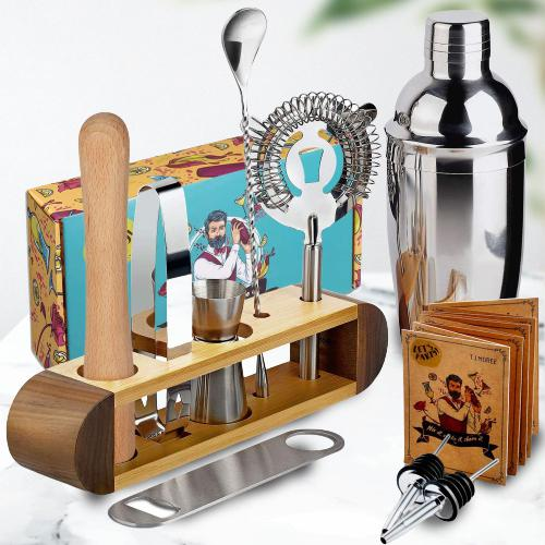 Enticing 11 Pc Bar Tool Set with Stand