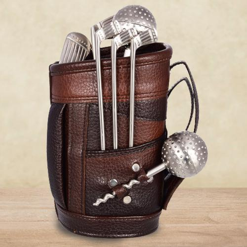 Rocking Stainless Steel Golf Bar Set with Leatherette Bag