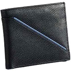Wonderful Leather Gents Wallet in Black with Blue Leather Stripe