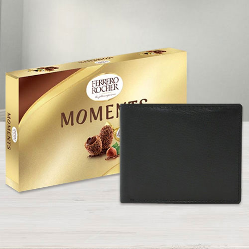 Classic Leather Wallet with Ferrero Rocher Chocolates for Gents
