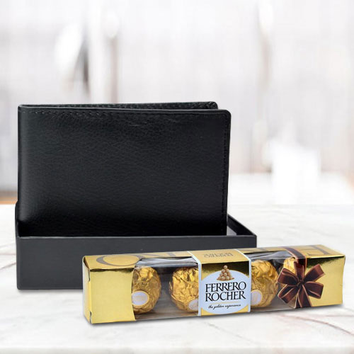 Outstanding Black Leather Wallet with Ferrero Rocher Chocolate